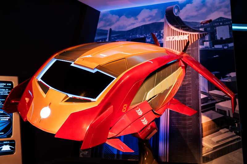 An Iron Wing flight vehicle at Hong Kong Disneyland's Iron Man Experience.