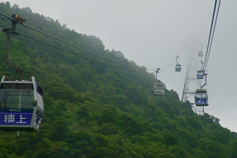 Ngong Ping 360 cable cars on Lantau Island, Hong Kong.