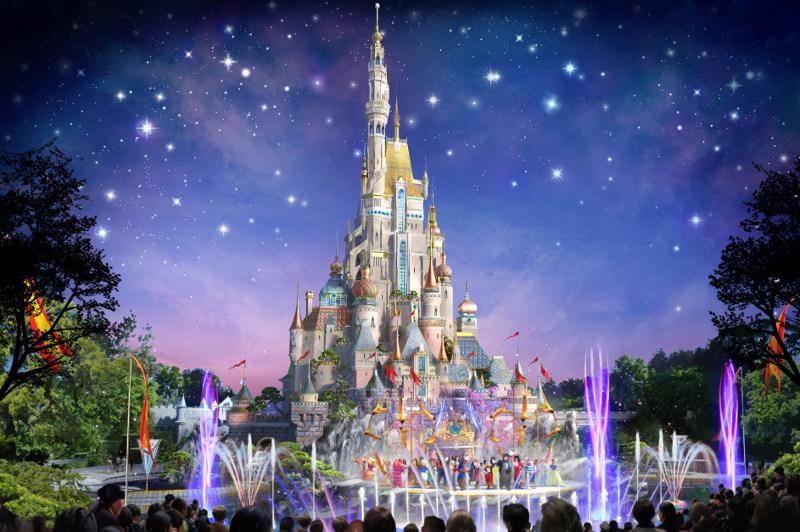The Sleeping Beauty Castle is illuminated at Hong Kong Disneyland.