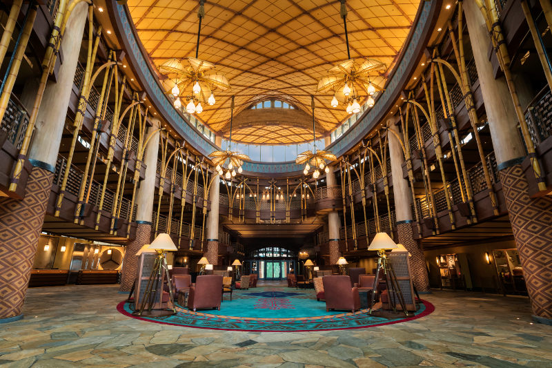 The foyer at the brand new Disney Explorers Lodge.