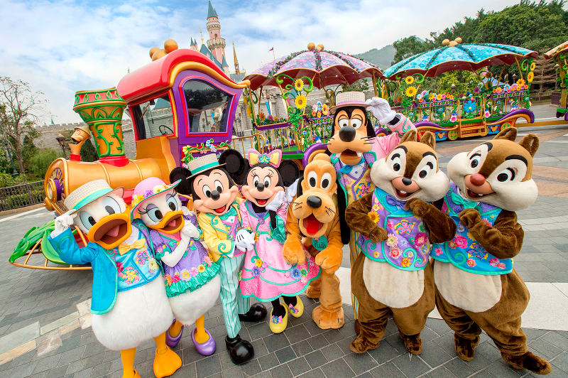 Donald and Daisy Duck, Mickey and Minnie Mouse, Pluto, Goofy, and Chip and Dale at Hong Kong Disneyland.