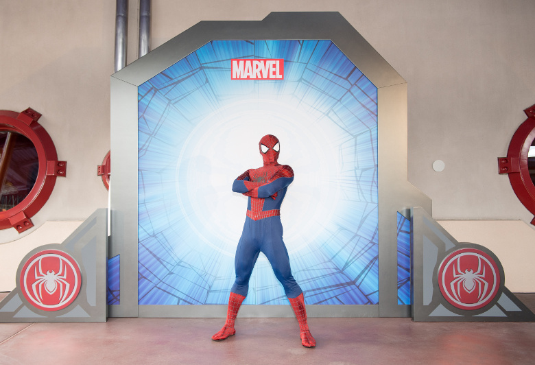 Spider-Man stands in superhero pose at Hong Kong Disneyland.
