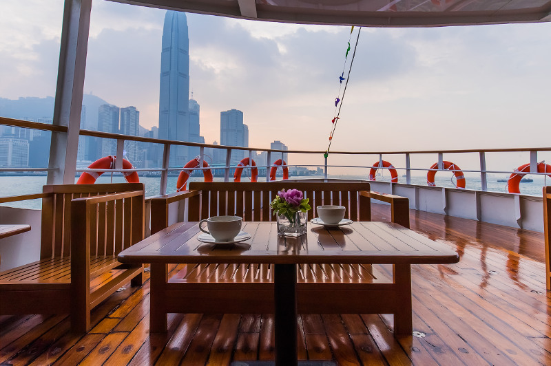 The view from the Star Ferry on the way to Hong Kong Disneyland.