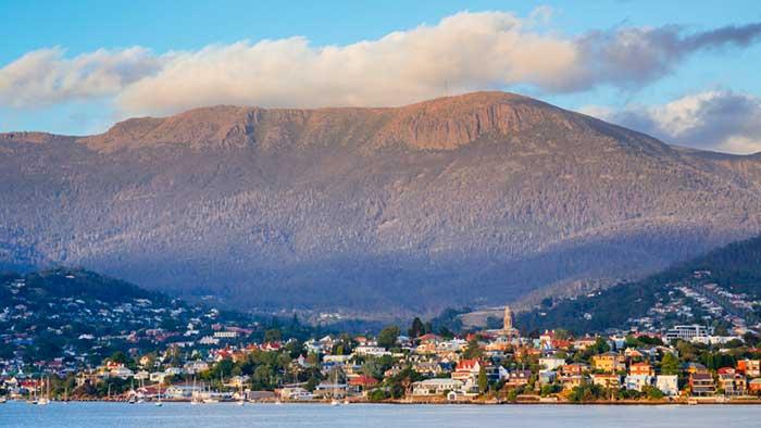 Hobart with mount wellington behind