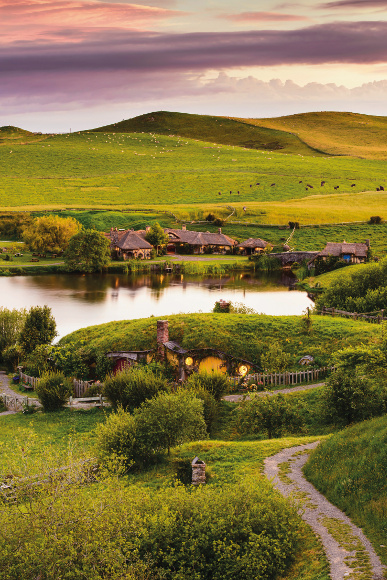 A look over Hobbiton from an elevated position