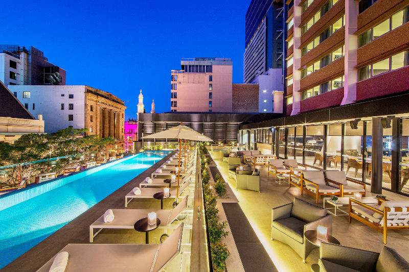 The rooftop pool at the Next Hotel, Brisbane, Queensland.