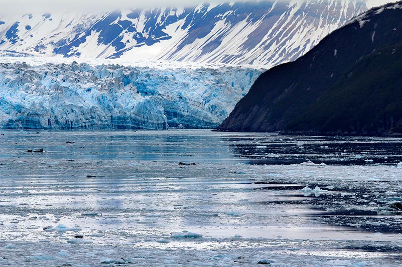 Ice calves from the Hubbard Glacier in Alaska