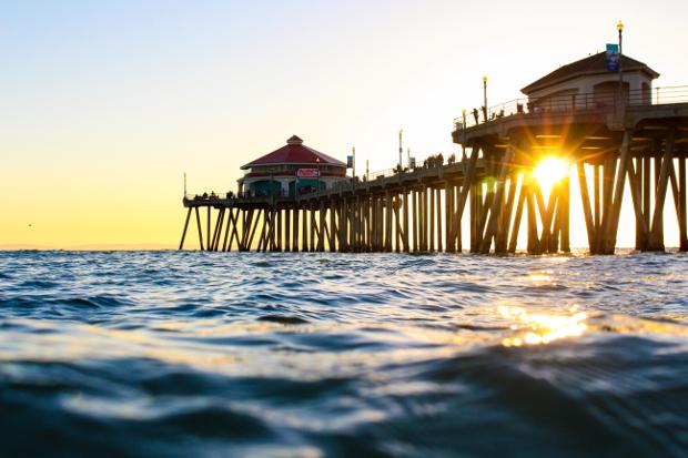 The pier at sunset at Huntington Beach