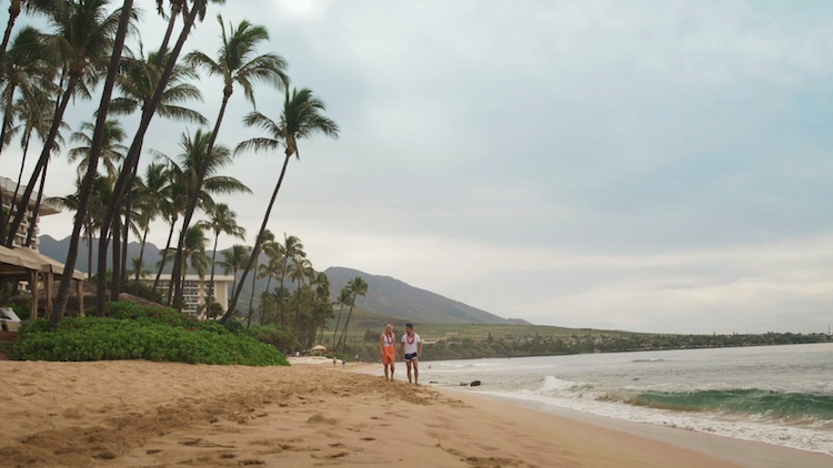 Host Greer Gardiner and fellow Flight Centre travel expert Jason Thinet-Chow relax at the Hyatt Regency Maui Resort & Spa during The 48 Hour Destination: Hawaii.