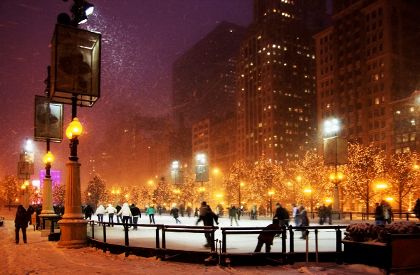 An outdoor skating rink in Chicago