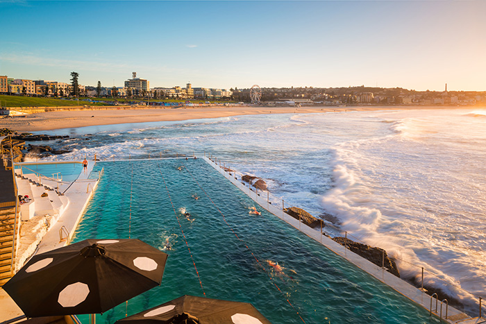 View of Icebergs pool with Bondi Beach in the background