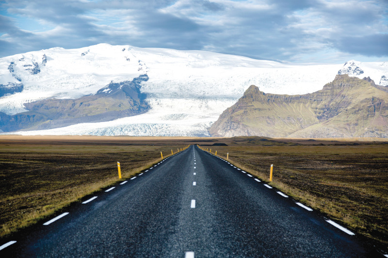 road leading to glacier iceland