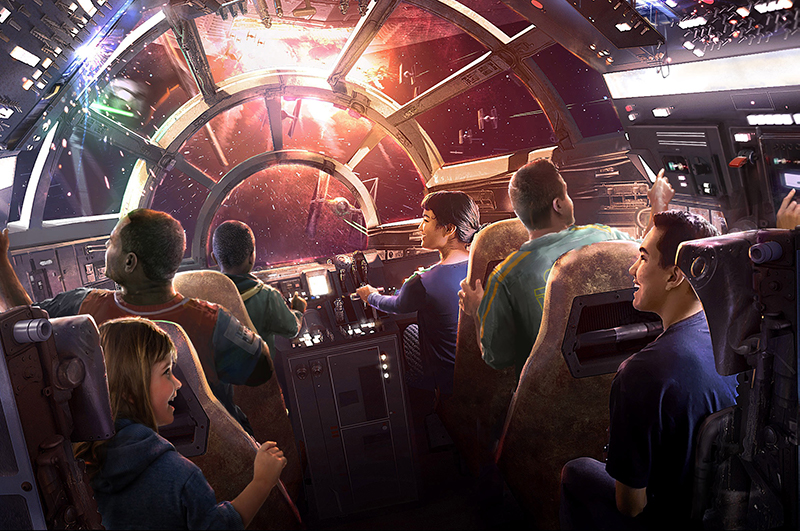 Artist's impression of the Millennium Falcon: Smugglers Run attraction, which opens May 31, 2019 at Disneyland Resort.