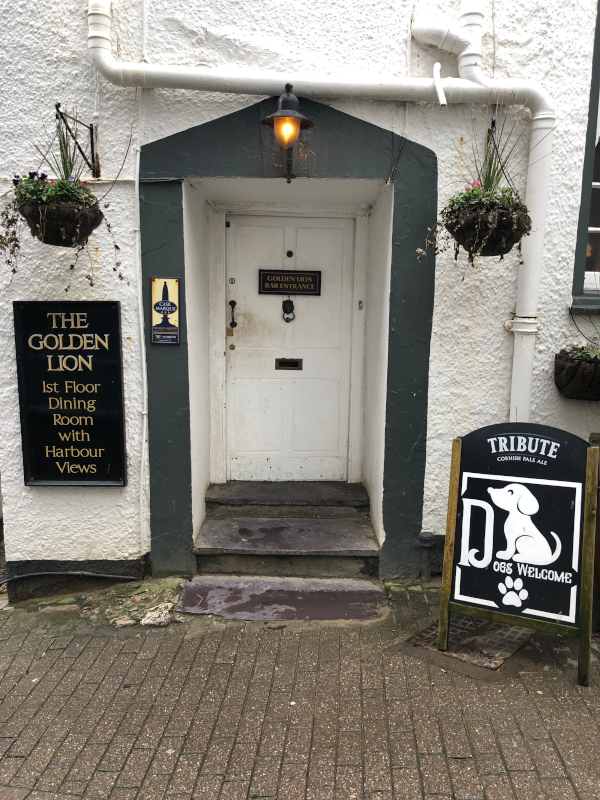 Front door of the Golden Lion is a perfect spot for a pint of Cornish Pale Ale
