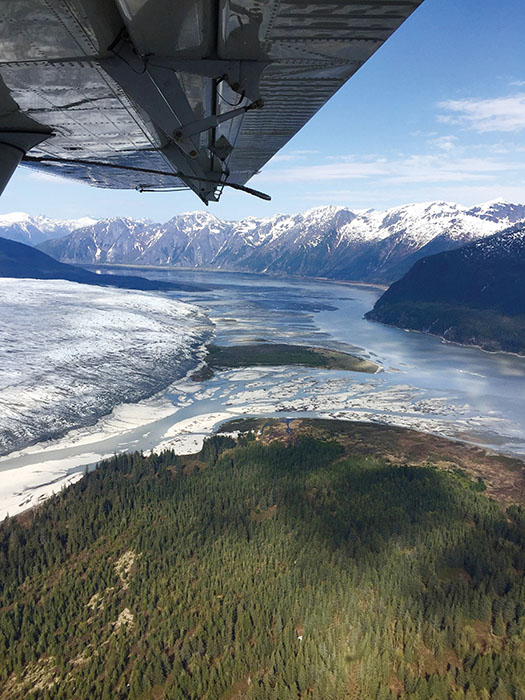 seaplane flight over glaciers in alaska