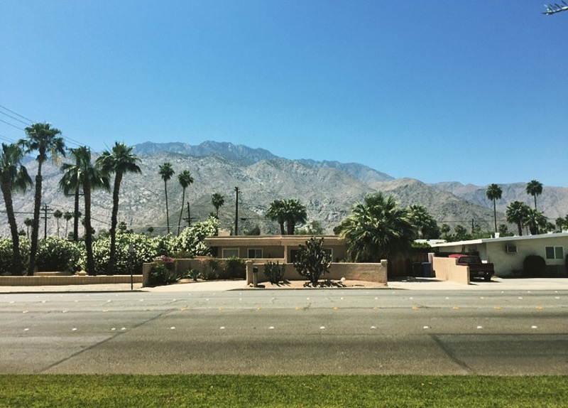 palm springs house with mountain behind