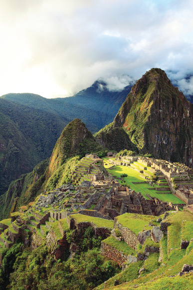 The inca ruins at the end of the Inca Trail