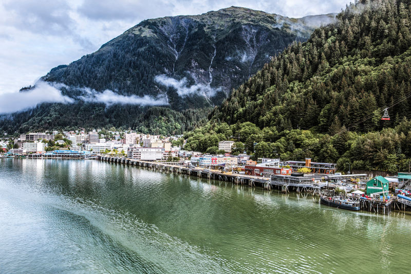The city of Juneau is sandwiched between the sea and mountains. Image: Getty