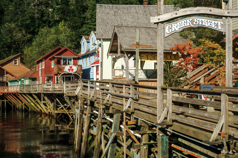 Shops along a wooden boardwalk at Creek Street in Ketchikan, Alaska.