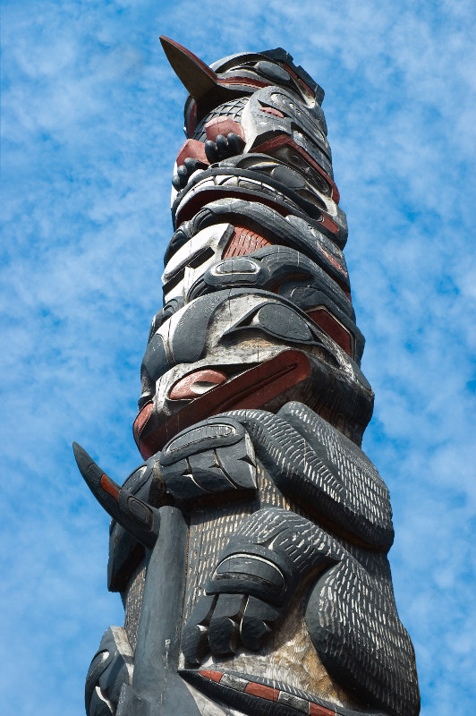 A Tlingit totem pole at Icy Strait Point, Alaska, USA. Image: Getty