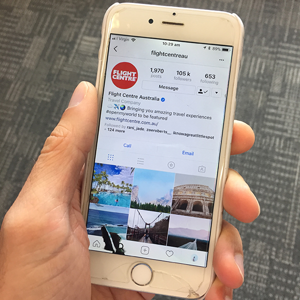 Instagram app on a smartphone