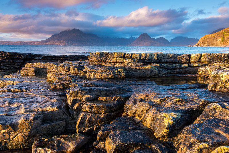 Elgol bay looking to the Isle of Skye mountains