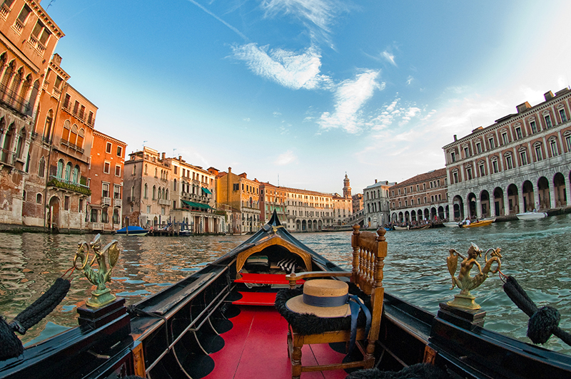 fish-eye view of grand canal from venetian gondola