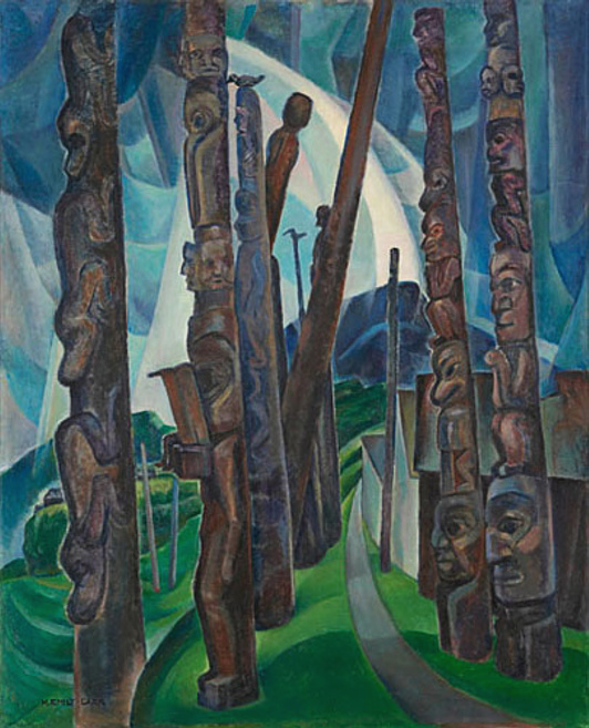 Emily Carr's painting of the totem poles at Kitwancool.