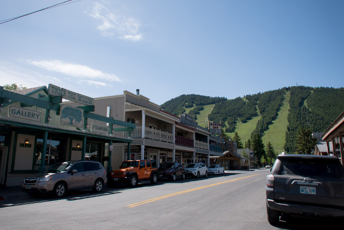 jackson wyoming with ski field behind in summer