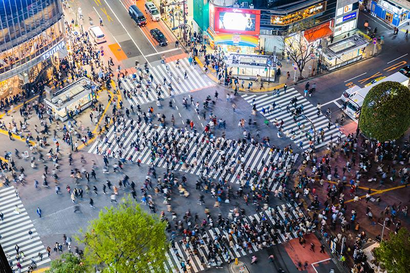 Aerial view of Shibuya Crossing in Tokyo