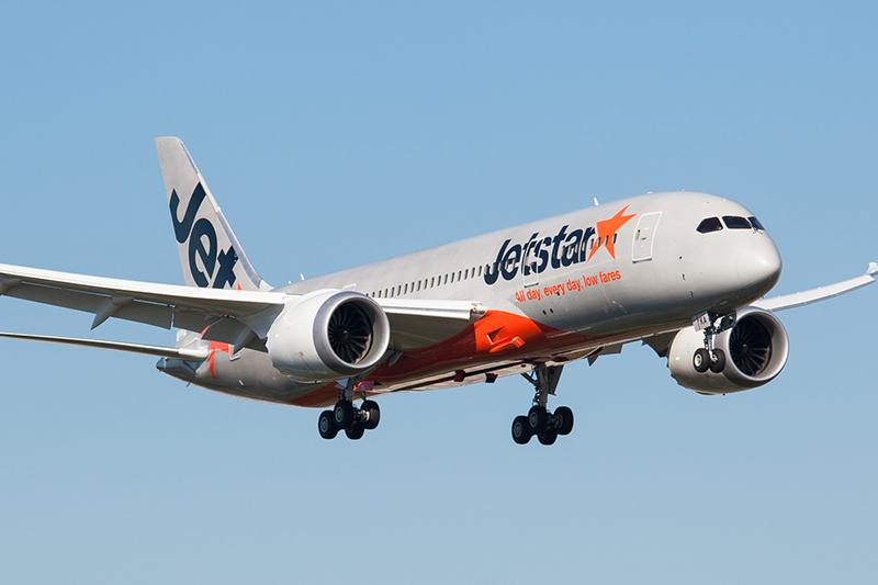 Jetstar 787 Dreamliner plane in the air