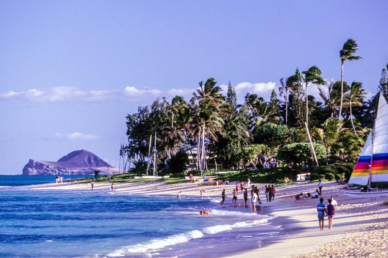 A view of the shoreline along Kailua Beach