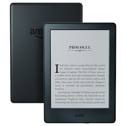 A kindle e-reader front and back