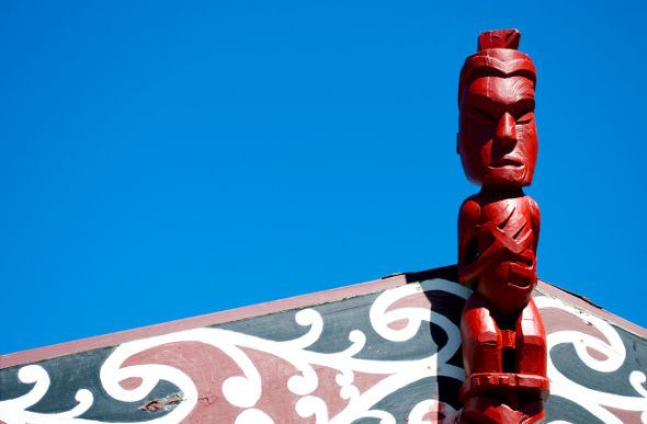 A carved detail in a Maori marae. Picture: Getty Images