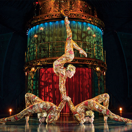 Three contortionists perform during Kooza. Picture: Cirque du Soleil