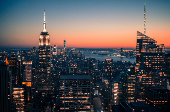 Downtown Manhattan by twilight.