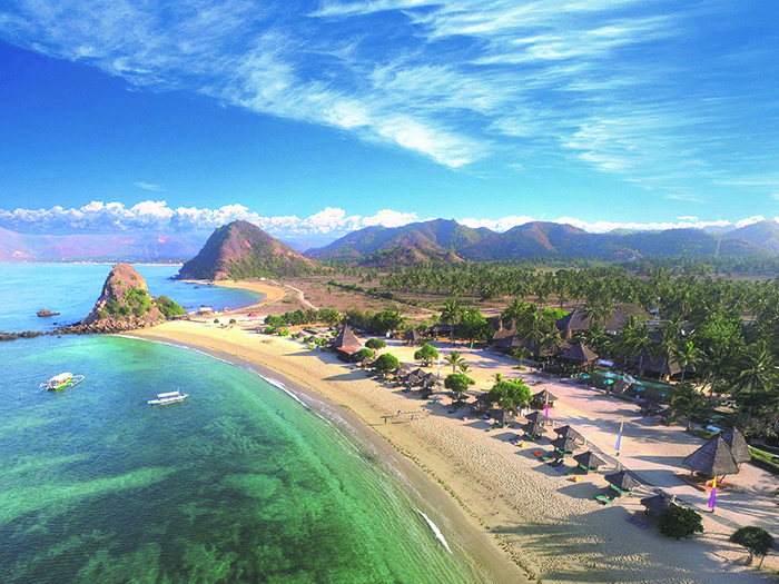 Aerial image of the beach and the Novotel Lombok resort
