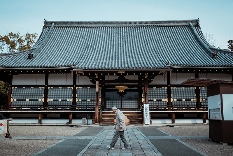 Man walks in front of Ninna-Ji Temple, Kyoto.