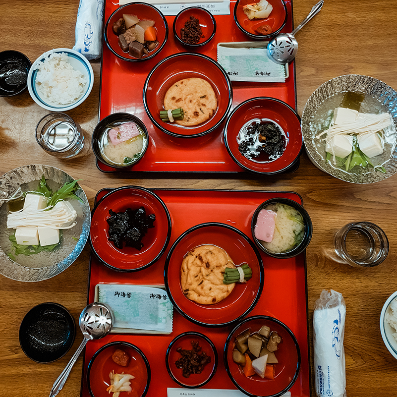 A delicious Japanese breakfast array served on a temple stay at Ninna-Ji Temple
