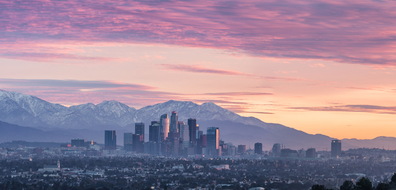 Downtown LA's incredible sunset