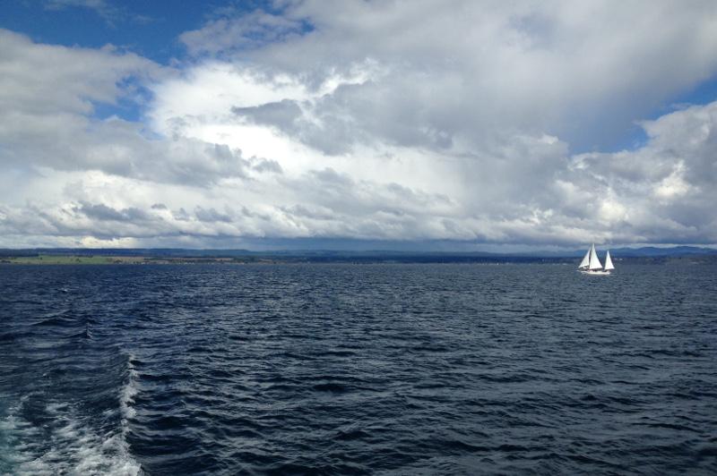 A sailboat on Lake Taupo