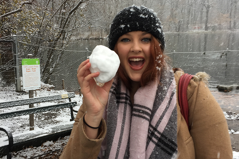 FC travel expert Laura Cruikshank in the snow NYC