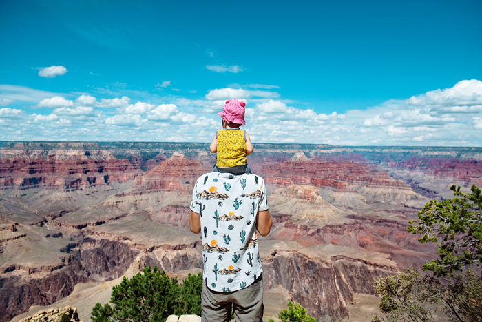 father and daughter at grand canyon - life lessons from travelling with a kid