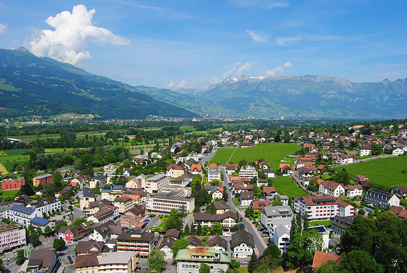 aerial view over liechtenstein