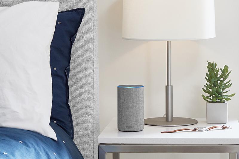Amazon Echo on bedstand