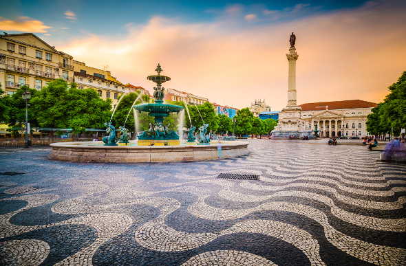 The praca do rossio in lisbon