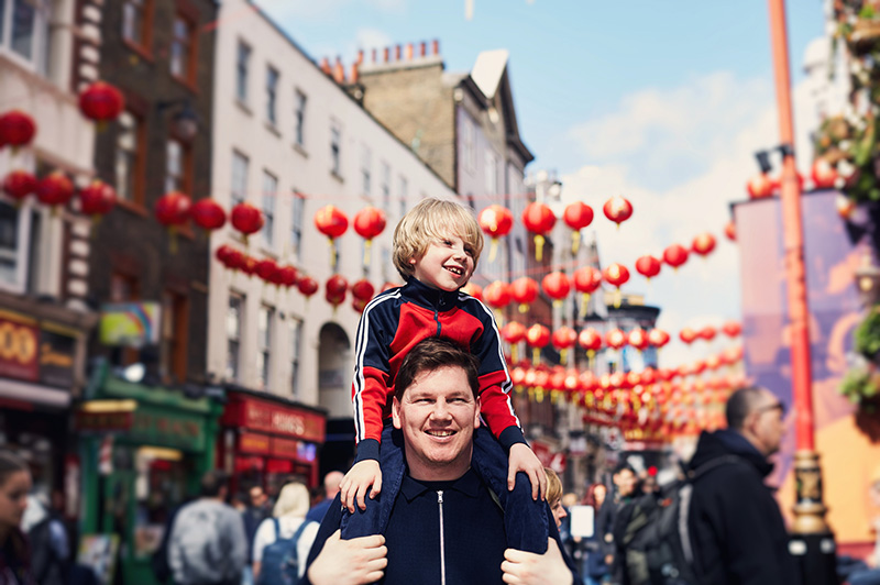 dad and son in chinatown london