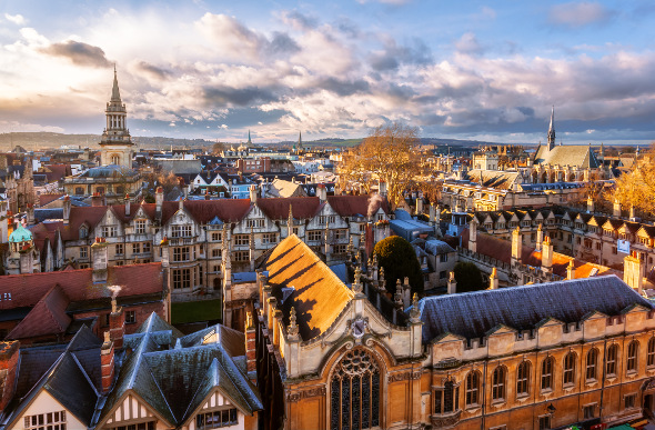 The rooftops of Oxford University in England.