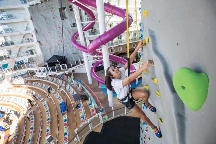 The rock climbing wall onboard Symphony of the Seas. Image: Royal Caribbean International.