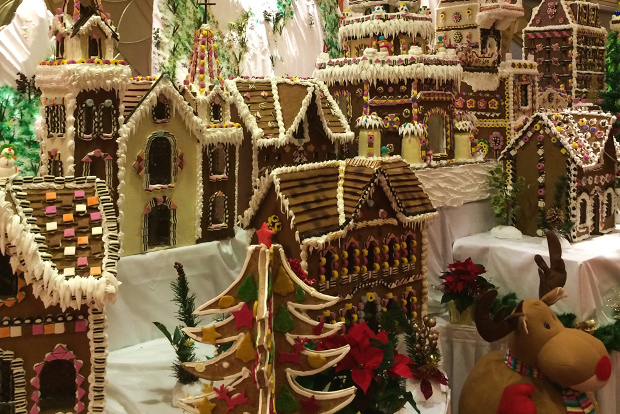 The gingerbread village on board Cunard vessels at Christmas time.